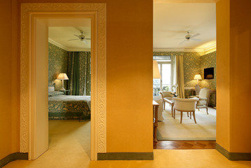 luxury apartment, view of the living room from the hall