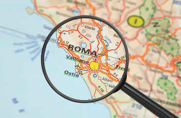 Destination - Rome (with magnifying glass)