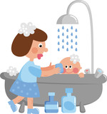 Mom washes the child's
