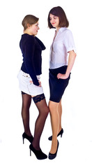 two girlfriends standing