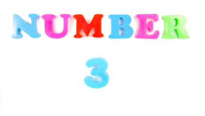 number three on white background