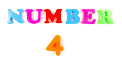 number four on white background