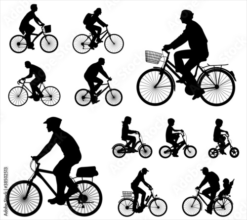 bicyclists silhouettes collection 2