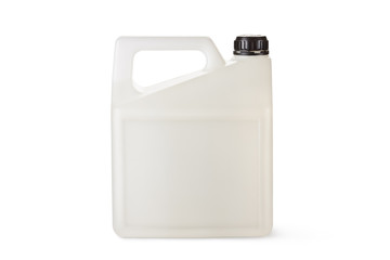 White plastic canister for household chemicals