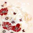 cartolina con papaveri e farfalle