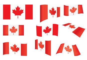 set of Canada flags over white illustration