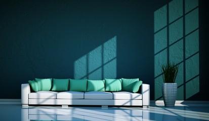 Wohndesign - Sofa mit Kissen türkis