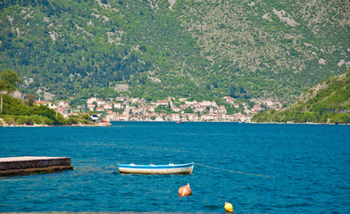 Boat at entrance of Boka-Kotor bay