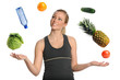Woman Juggling Fruits Vegetables and Water