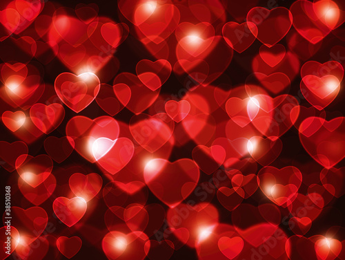 Red heart lens background.