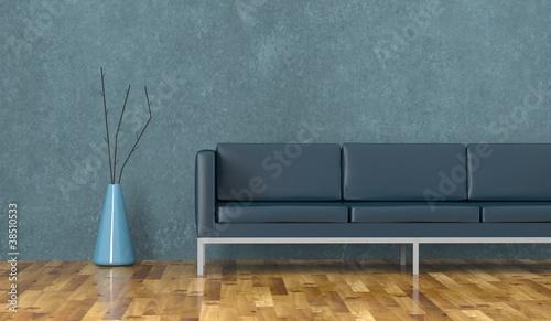 Wohndesign - blaues Ledersofa