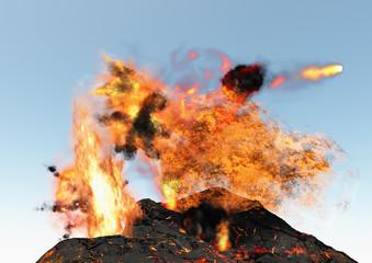Vulcano esplosione eruzione magma lava