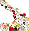 Sushi pices flying on white background