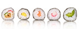 Fototapety Sushi pieces collection, isolated on white background