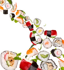 Sushi pices flying on white background