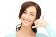 woman making a call me gesture