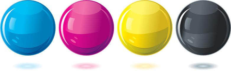 Process CMYK glass orbs