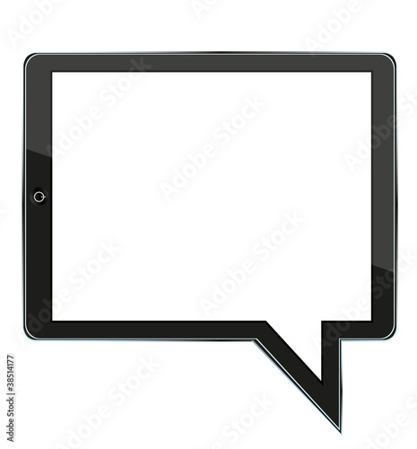 concept computer tablet with bubble speech. Vector illustration