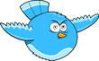 Crazy Blue Bird Vector Illustration