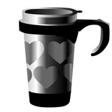 silver metal cup with hearts