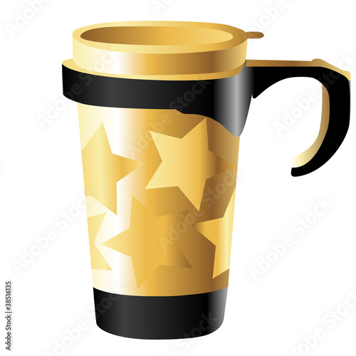 golden metal cup with stars