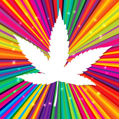 Cannabis leaf on abstract psychedelic background, vector, EPS10