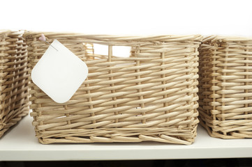 cane basket with blank label or tag