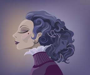 Vintage surrealistic woman portrait with two faces.