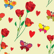 Seamless floral composition with rose,butterflies and hearts
