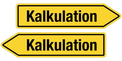 2 Pfeilschilder gelb KALKULATION