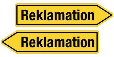 2 Pfeilschilder gelb REKLAMATION