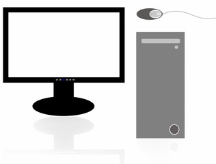 PC, computer monitor and mouse  isolated on white