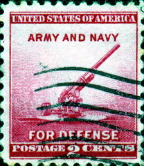 Army and Navy for Defense. US Postage.