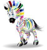 Zebra Cartoon Quadricromia-Four Color Process Zebra-Vector