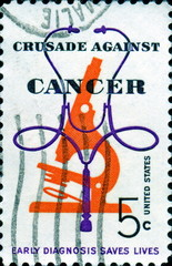 Crusade against cancer. Early diagnosis saves lives. US Postage