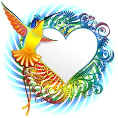 Colibri Cuore Design-Hummingbird on Heart Colors Design-Vector