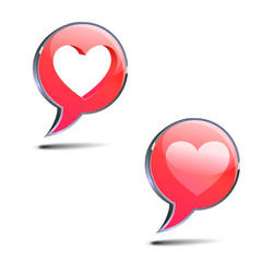 text bubbles with heart