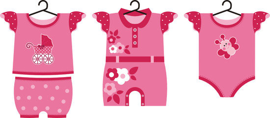 Different set of summer clothes for the little newborn baby