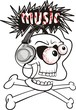 listening to loud music - skull