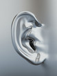 Silver metallic human ear. 3d