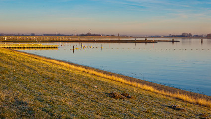 Oosterschelde lough in the low morning sun