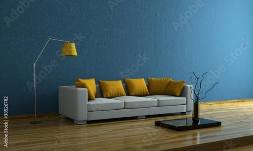 Wohndesign - Sofa mit gelben Kissen
