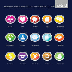 Insurance group icons secondary gradient colour