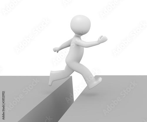 3d Männchen sprung über Schlucht