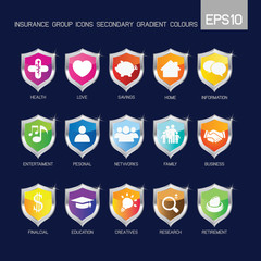 Insurance group icons secondary colorful