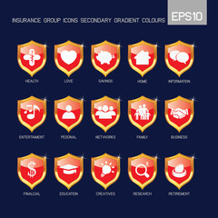 Insurance group icons secondary red color