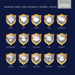 Insurance group icons secondary grey color