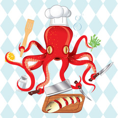 Vector illustration of octopus cooking sushi and fish