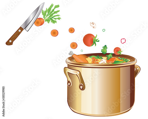 Cooking soup with vegetables