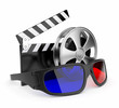 3D glasses of stereoscopic cinema. Icon isolated on white backgr